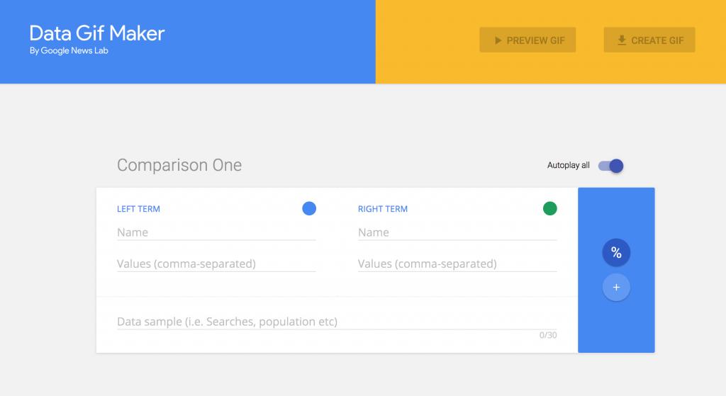 Der Screenshot zeigt die Oberfläche des Data Gif Makers.